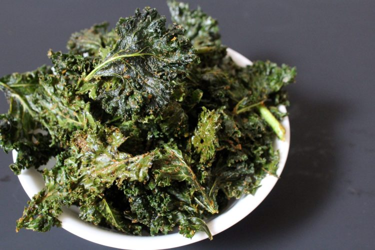 Easy Spicy Kale Chips - these kale chips have a bit of heat and are perfectly crispy! This easy recipe is a wonderful low carb, healthy snack that is vegan too!