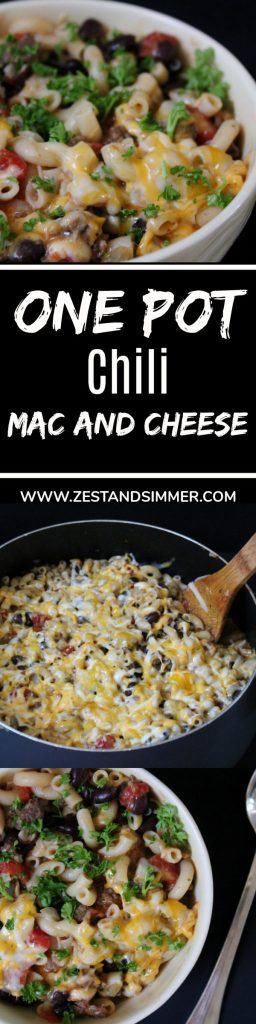 One Pot Chili Mac and Cheese - two delicious comfort foods become one with this One Pot Chili Mac and Cheese! This super easy, one-pot meal is a quick, hearty and comforting meal that everyone in the family will love!