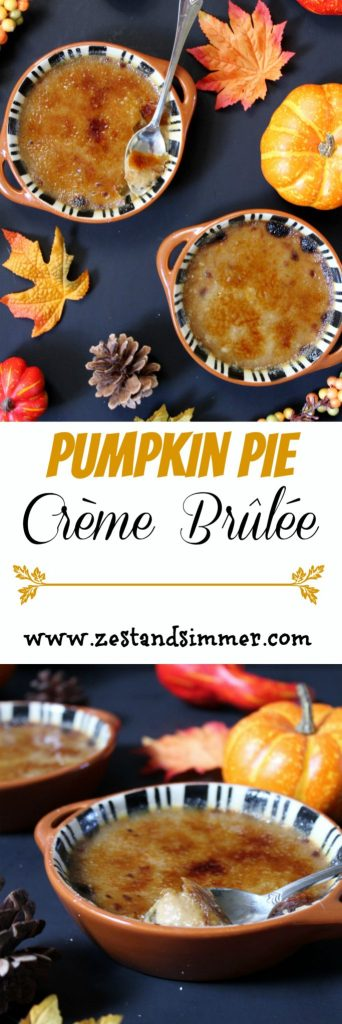 Pumpkin Pie Crème Brûlée - change things up with a delicious spin on the classic pumpkin pie! Creamy pumpkin spice custard and a crunchy sugar crust make this the ultimate decadent dessert! It's also a lot easier to make than you would think and is sure to impress dinner guests!