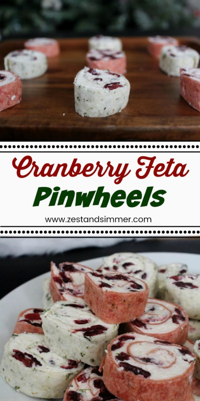 Cranberry Feta Pinwheels - a tasty make ahead holiday appetizer! Creamy feta filling with sweet dried cranberries are the perfect salty sweet combo that are sure to be a hit at your next party!