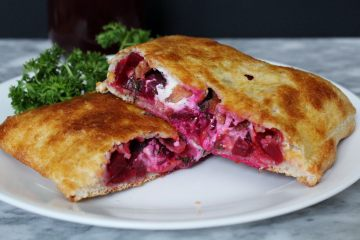 Beet Calzone with Bacon, Goat Cheese and Dill - a unique take on the calzone! Loaded with beets, bacon, mozzarella, goat cheese and dill this easy dinner is one that will not disappoint.