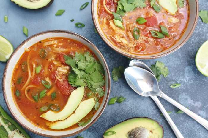 Mexican Chicken Noodle Soup - a flavourful, nutritious and comforting meal, perfect for chilly days or when you are feeling unwell. Bone broth helps increase the nutritional benefits of this soup. This one pot meal is ready in under 30 minutes and is a great way to use up leftover roast chicken!