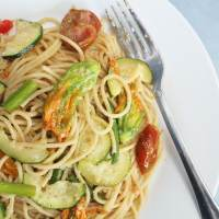 Squash Blossom & Garlic Scape Pasta