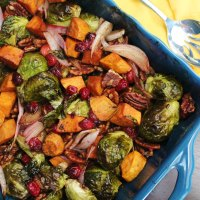 Maple Roasted Brussels Sprouts and Sweet Potatoes with Cranberries and Pecans