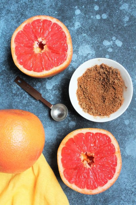grapefruit halves and spice brown sugar mixture