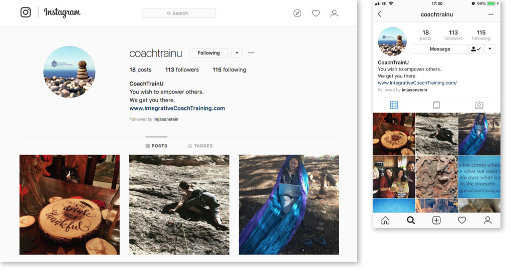 IICT Instagram header image on computer and phone