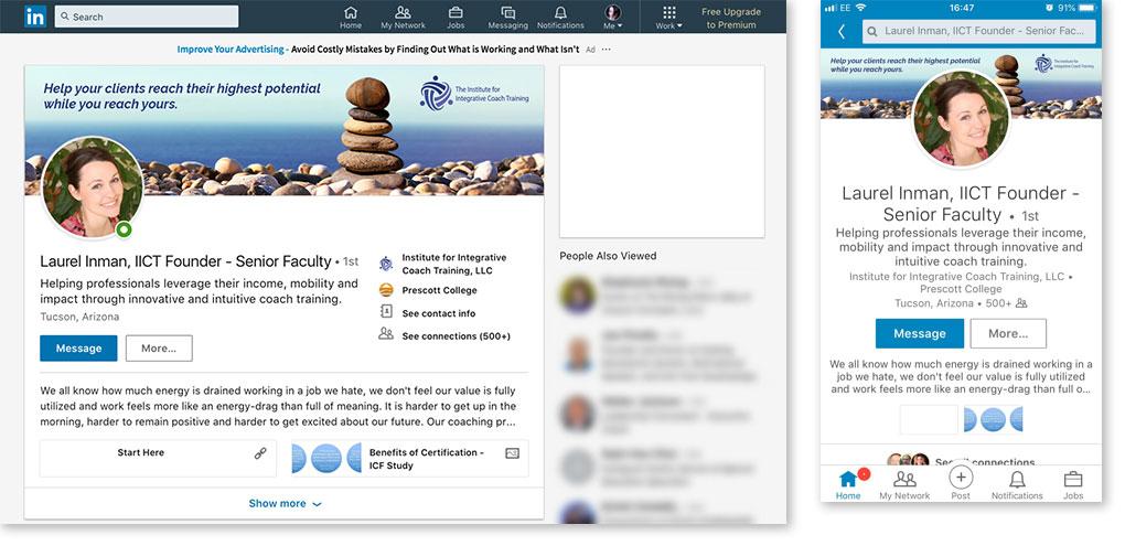 IICT LinkedIn header image on computer and phone