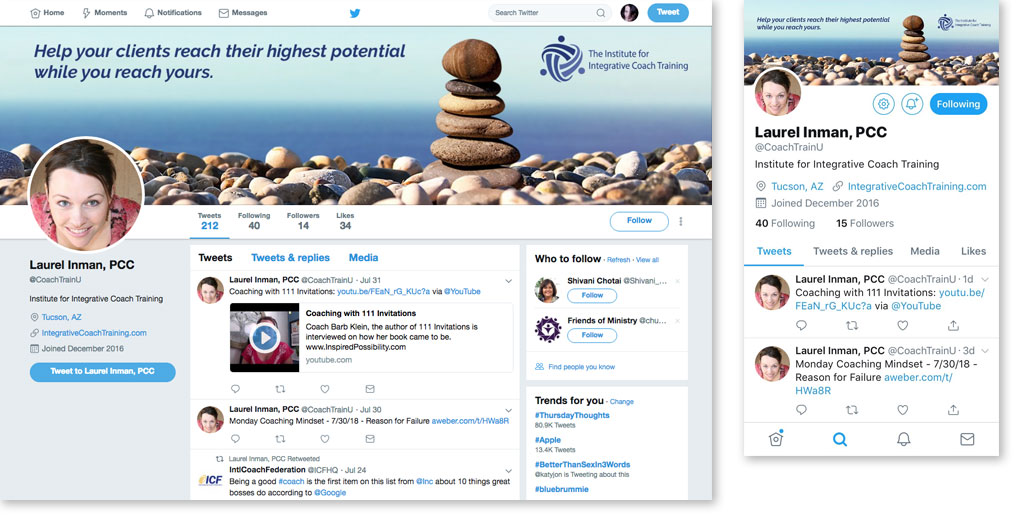 IICT Twitter header image on computer and phone