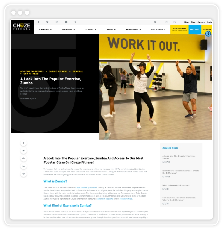 """Chuze blog post titled """"A Look Into The Popular Exercise, Zumba"""""""