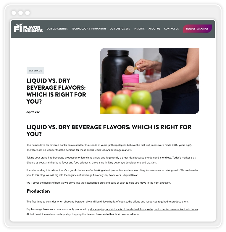 """screenshot of blog post titled """"Liquid vs. Dry Beverage Flavors: Which Is Right For You"""""""