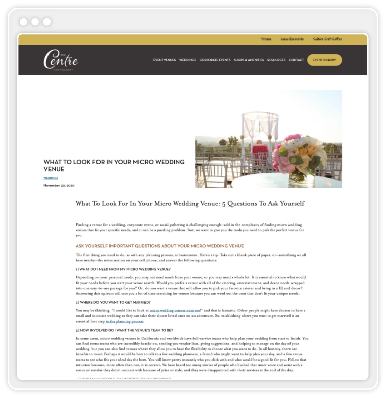 """Screenshot of The Centre's website showing blog post titled """"What To Look For In Your Micro Wedding Venue"""""""