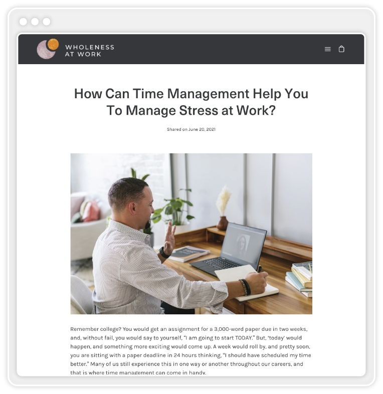 """screenshot of blog post titled """"How Can Time Management Help You To Manage Stress At Work?"""""""