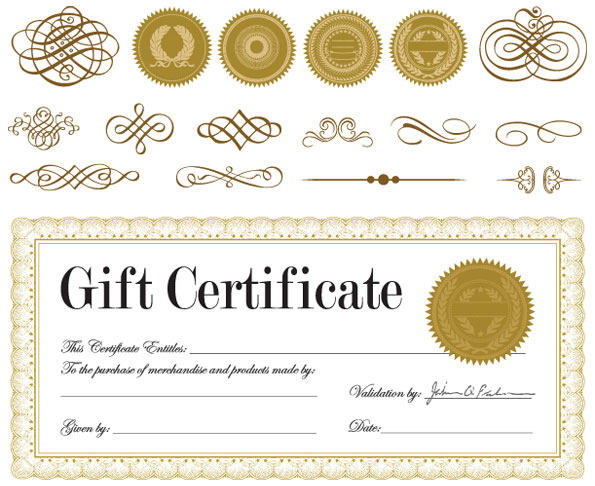 Gift Certificate And A Badge Vector Download Free