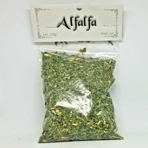 Alfalfa cut 1 oz (Medicago sativa) Alfalfa Leaf also known as Medicago Sativa or Lucerne. Originating in the United States and is a common grazing crop for livestock having an abundance of minerals and vitamins. Magical uses it is used for money, prosperity, and anti-hunger. 1 oz cut leaf with a green fresh scent. Store in a tightly sealed container in a cool, dark place.
