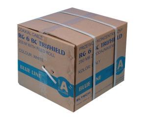 Kabel RG6U BC Trischield (Karton 250mb) - Biały