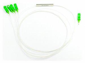 Splitter optyczny PLC Steelbox z końcówkami 1x4