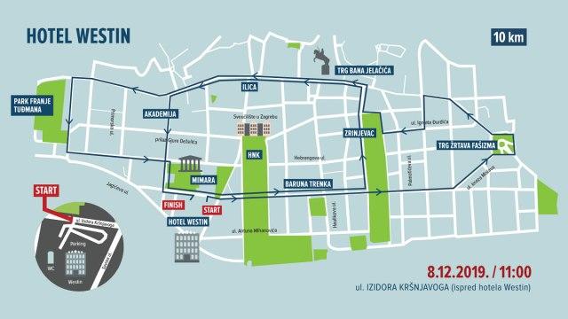 trasa utrke na 10 km / zagreb advent run 2019