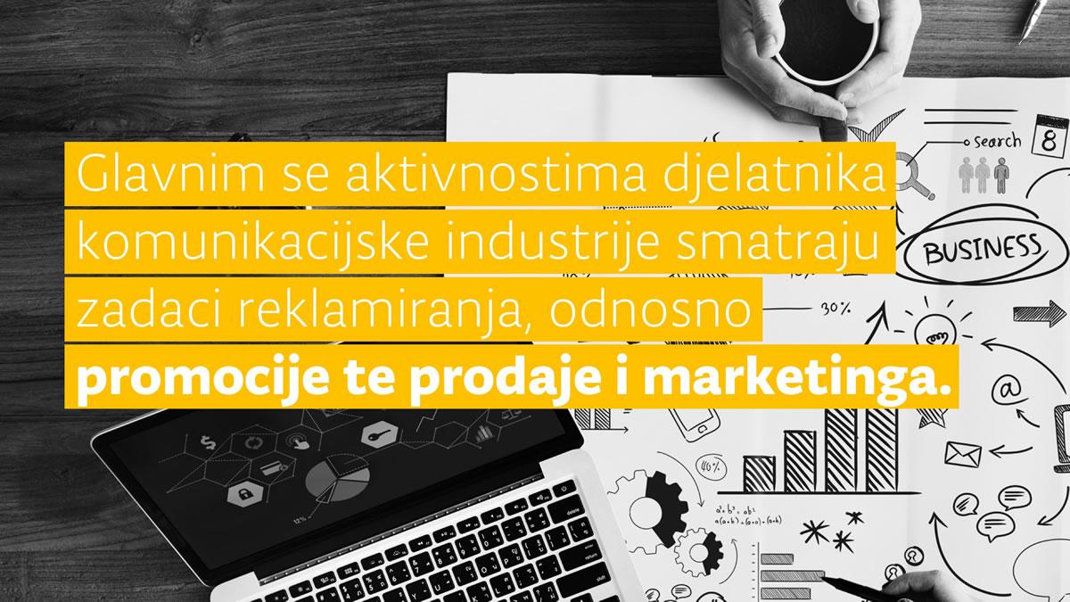 aktivnosti komunikacijske industrije: reklamiranje, promocija, prodaja i marketinig