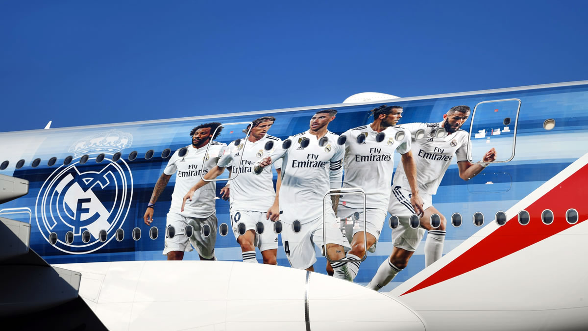emirates airbus a380 - real madrid 2018