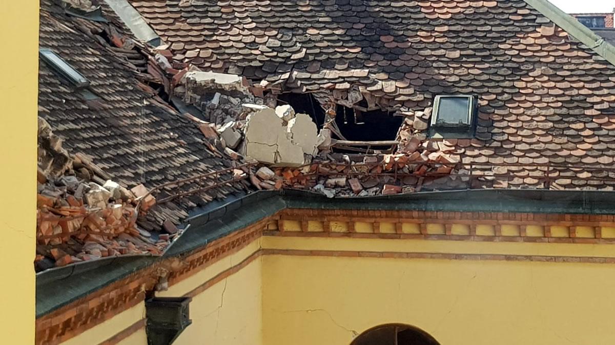 muzej za umjetnost i obrt zagreb - oštećenje krovišta od potresa / ožujak 2020.
