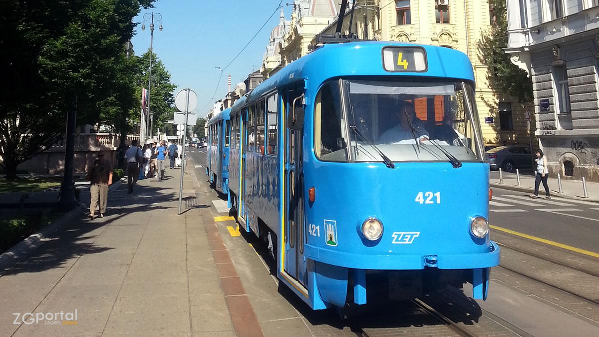 tramvaj linija 4 - trg ante starčevića, zagreb - srpanj 2017.