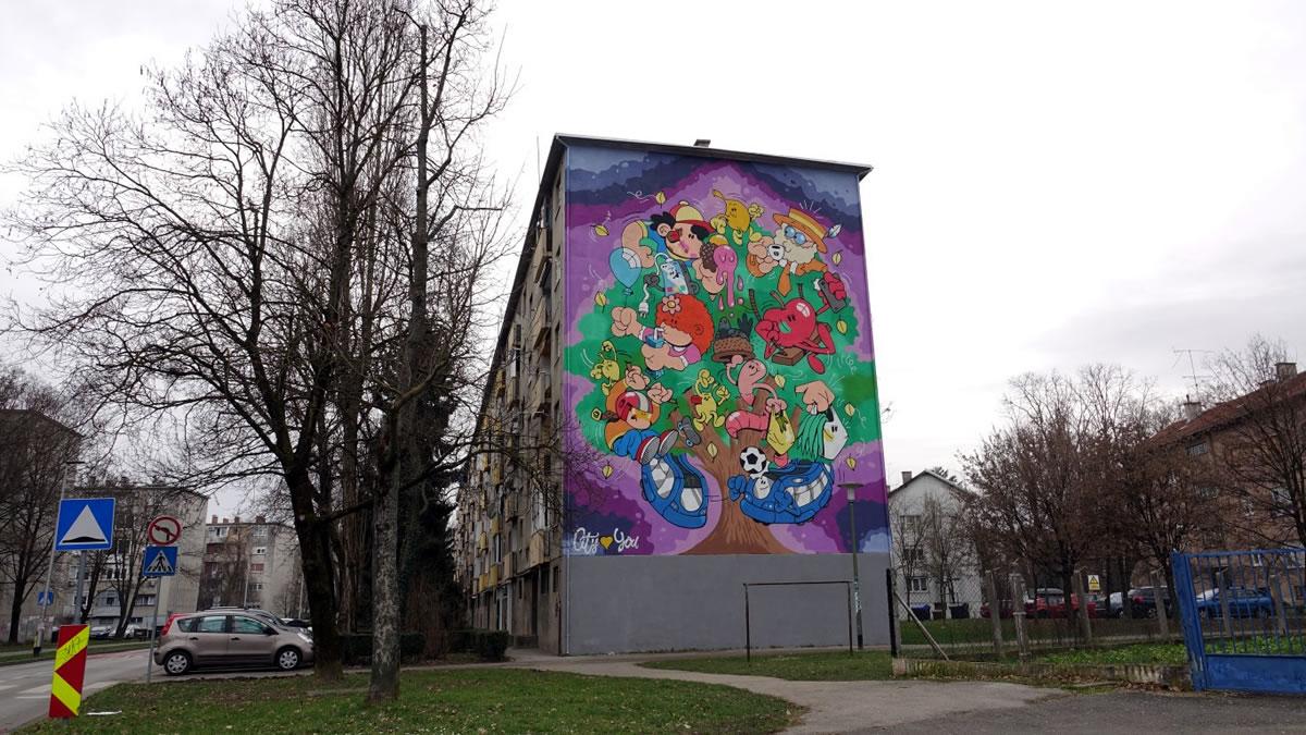 "mural ""volovčica"" zagreb - city street art - 2021."