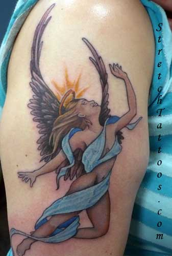 shoulder angel tattoo stretch. Posted by best design
