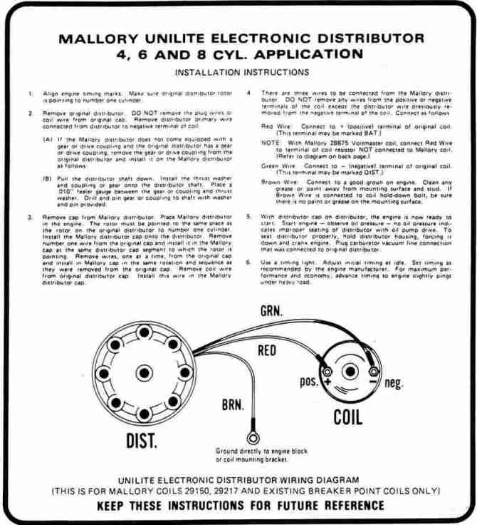 mallory unilite distributor wiring diagram  2001 ford