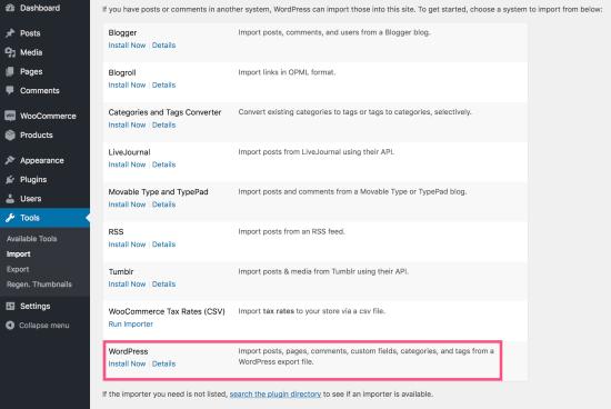 WordPress的,进口商