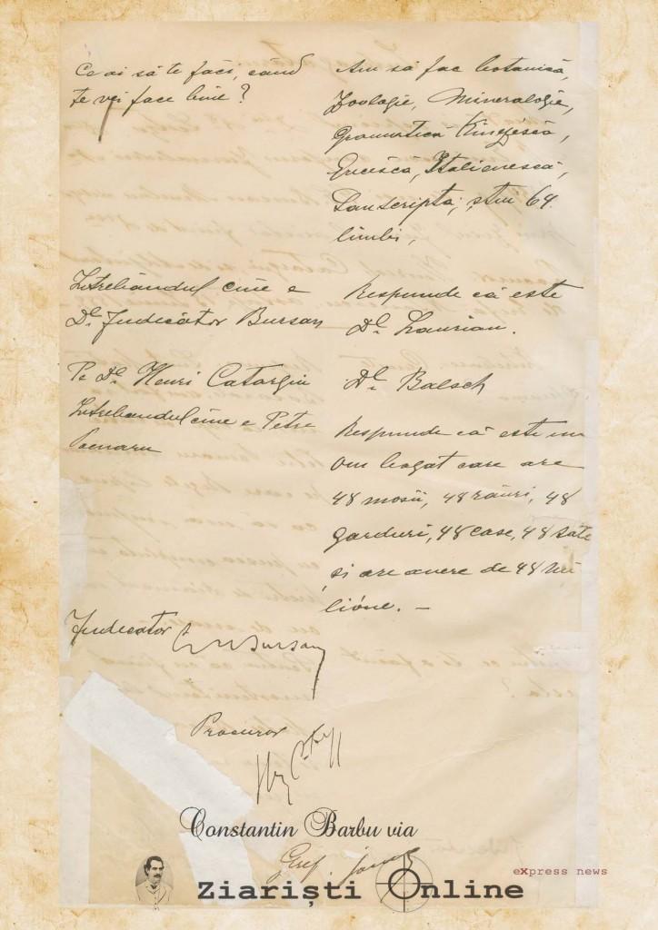 Interogatoriu Mihai Eminescu Document 2 - Constantin Barbu via Ziaristi Online