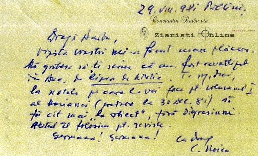Scrisoare Dinu Noica - Doc Constantin Barbu via Ziaristi Online