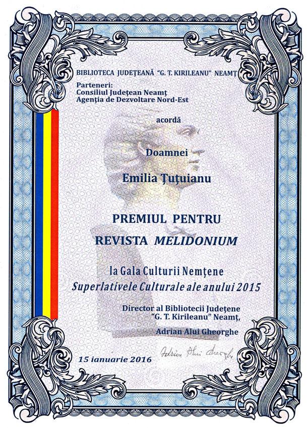 Romaşcani premiați la Gala Culturii Nemțene