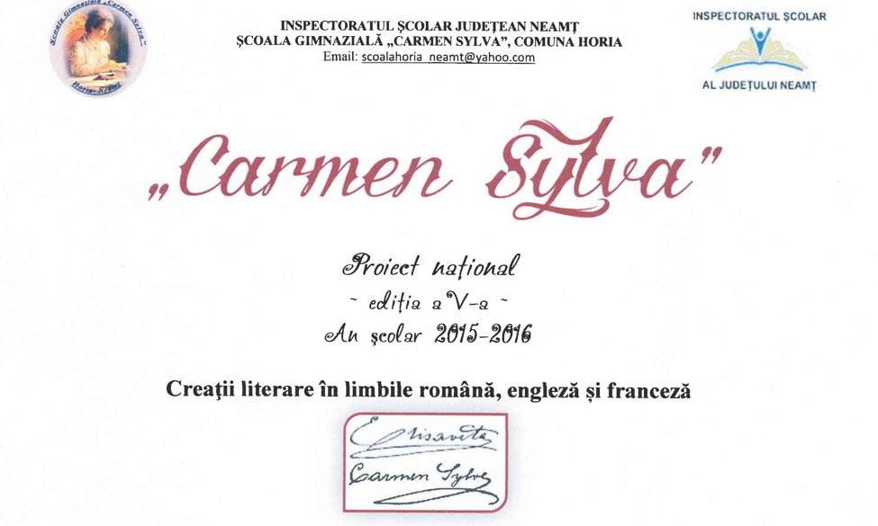 """CONCURS DE CREAŢII LITERARE LA ȘCOALA """"CARMEN SYLVA"""" HORIA"""