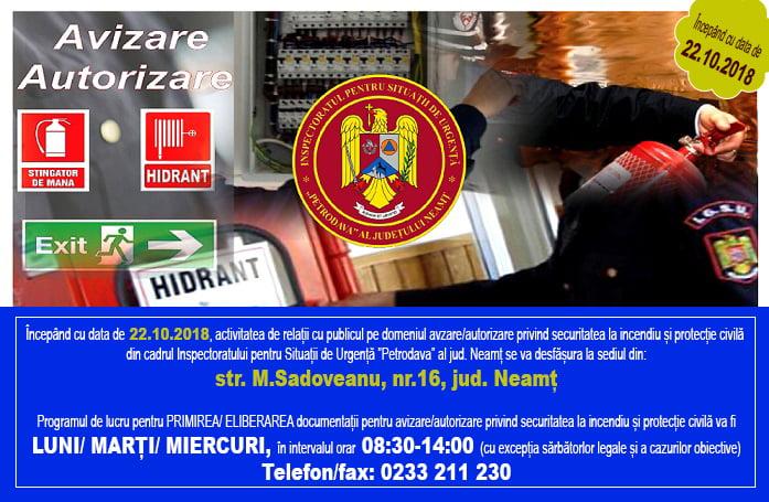 Modificări în activitatea de relaţii cu publicul pe domeniul de avizare și autorizare, la ISU Neamț