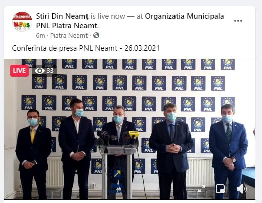 Foto: Conferința de presă organizată de PNL Neamț vineri, 26 martie, la ora 10