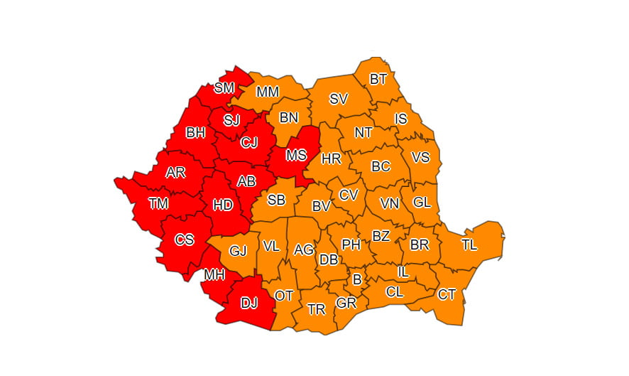 Întreaga țară, sub cod roșu și cod portocaliu de caniculă