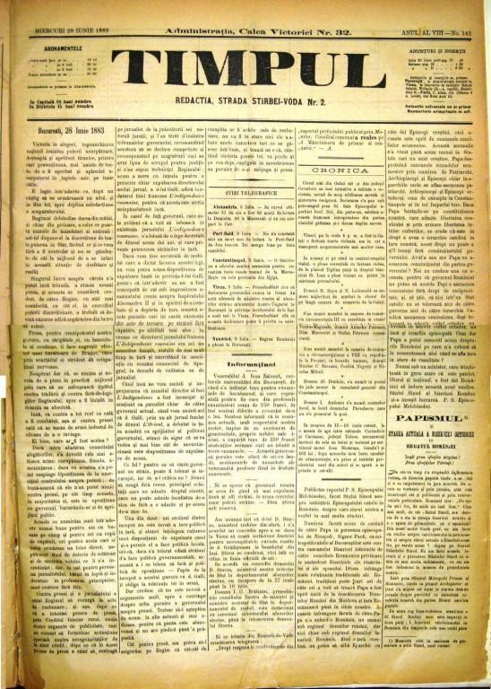 Ziarul Timpul din 28 iunie 1883