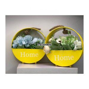 Yellow Home Metal Hanging Flower Pots