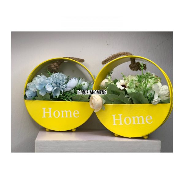 Yellow Home Metal Hanging Flower Pots