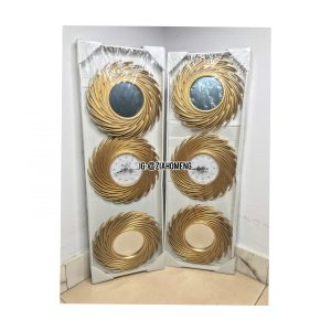 Golden Spiral Design Decorative Wall Clock And Mirror Set