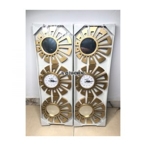 3-in-1 Golden Decorative Wall Clock And Mirror Set