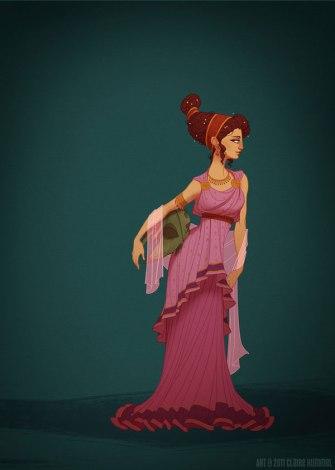 Plus classique et moins flash, l'héroine d'Hercule retrouve une tenue plus proche des celles de la Rome antique que celles du film