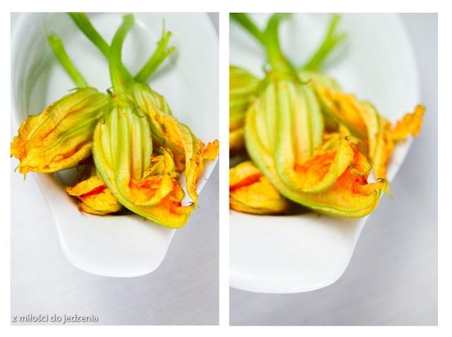 Kwiaty cukinii faszerowane serem mozarella i smażone