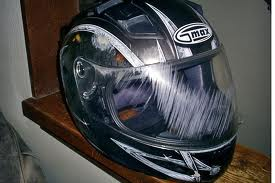 damaged motorcycle helmet - NY and PA Motorcycle Attorney: Helmet Use Up Across The Country!