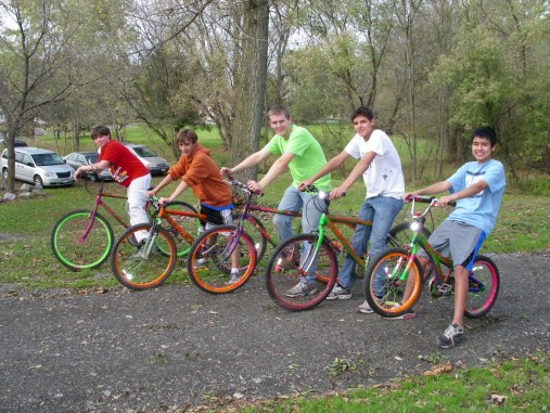 Bike Share Paint Day 039 - Thanks To Boy Scout and His Friends, Bike Share Program Taking Off In Big Flats Park