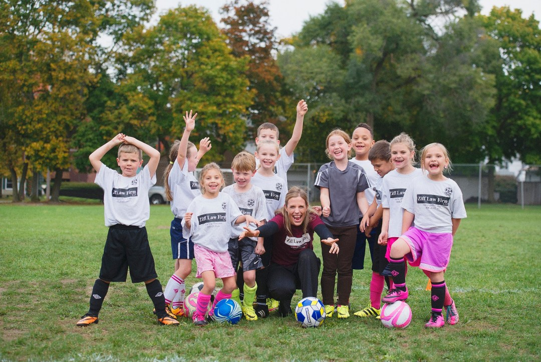 Christina Sonsire now loves coach a youth soccer team that includes her daughter Laurel, 7.