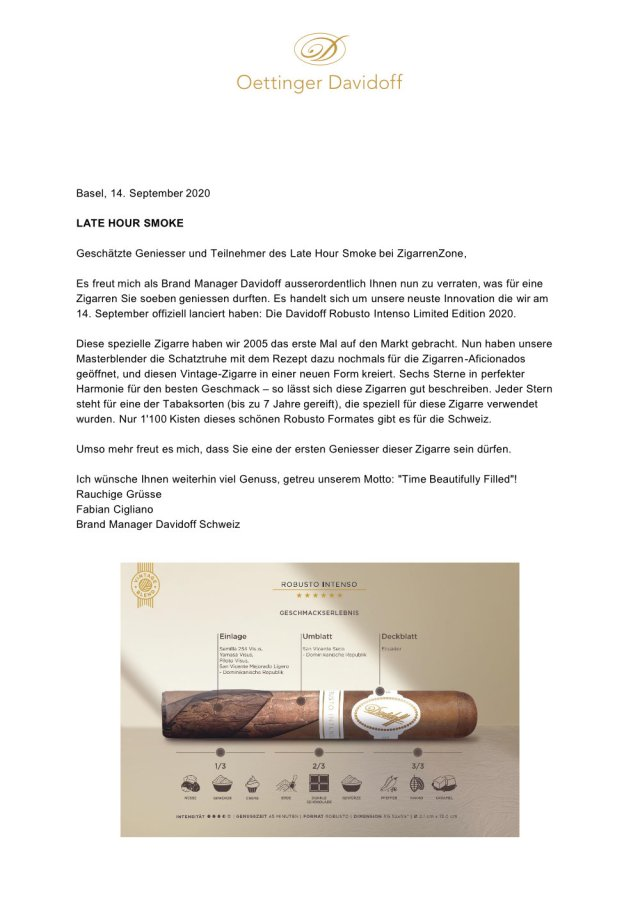 LHS Davidoff Robusto Intenso Vintage 2020 21 Brief Fabian