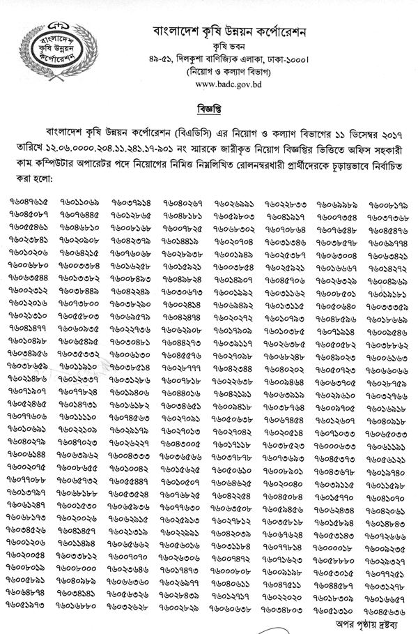 BADC Computer Operator Final Exam Result 2019