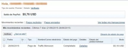 Los 5,16$ fueron depositados a PayPal de Traffic Monsoon