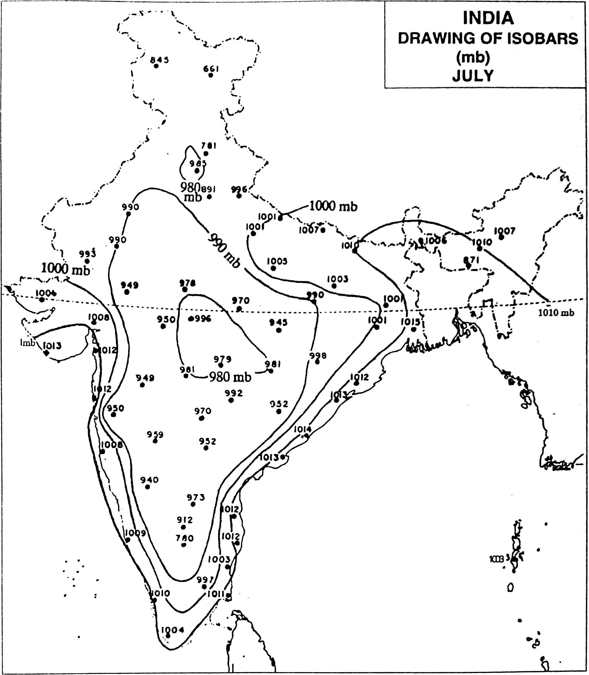 Draw Isobars On The Map Of India Shown In The Following